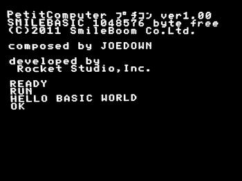 上画面 READYの次の行がRUN 次の行が HELLO BASIC WORLD 次の行がOK