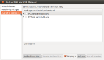 Android SDK and AVD Manager画面